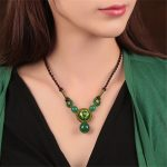 Vintage long necklace green cloisonne national trend necklace chain female short design handmade <b>Jewelry</b> <b>accessories</b> gift