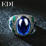 EDI Leaf 10CT Sapphire Vintage Cloisonne Indian Ring 925 Sterling <b>Silver</b> Blue Corundum <b>Jewelry</b> For Women Royal Filigree Enamel