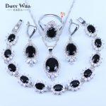 Surprise Present For Lovers Black Rhinestone White Crystal 925 Stamp <b>Silver</b> Color <b>Bracelets</b> Pendant Neklace Earring ring