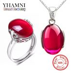 YHAMNI Fashion Big Natural Stone Ring Necklace Sets Pure 925 Solid Silver Red Crystal Bridal <b>Jewelry</b> Sets for Women AS001