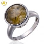 Hutang Natural Labradorite Round Solid Pure 925 Sterling <b>Silver</b> Ring Fine <b>Jewelry</b> New Fine <b>Jewelry</b> Wholesale