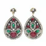 Classical Indian Women Flower Resin Drop Earrings <b>Antique</b> Gold Color Ethnic Round Bridal Wedding <b>Jewelry</b> Turkish Vintage Earring