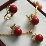 Prett Lovely Women's Wedding Design 10mm Red Shell Pearl Earring Ring Pendant & Stud <b>Jewelry</b> Set >AAA GP Bridal brinco