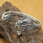 NEW! Real 925 <b>Silver</b> Dragon Bangle Vintage <b>Sterling</b> <b>Silver</b> Dragon Man Bangle Punk <b>Jewelry</b> Dragon Bangle
