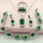 WPAITKY Trendy Green Created Emerald 925-Sterling-<b>Silver</b> Jewelry Set For Women Necklace Earrings <b>Bracelet</b> Ring Free Jewellry Box