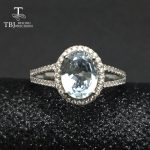TBJ,Classic natural brazil aquamarine gemstone Ring in 925 sterling <b>silver</b> simple beautiful <b>jewelry</b> for women girls daily wear
