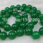 Fashion DIY <b>Jewelry</b> 12mm Green Chalcedony Stone Beads Necklace Chain Women Girl Parts Accessories Design <b>Make</b> Wholesale 24″