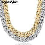 14mm Miami Curb Cuban Chain Necklace For Men Gold <b>Silver</b> Hip Hop Iced Out Paved Rhinestones CZ Rapper Necklace <b>Jewelry</b> GN432