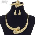 2018 New Fashion Dubai Crystal Ball Design <b>Jewelry</b> Sets African Women Bride Wedding Classic Gold Bead <b>Necklace</b> Earrings Set