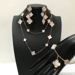 2018 Brand Wedding Jewelry Set For Women Gold Color Necklace White Mother Shell Pearl Clover Leaf Necklace Earrings <b>Bracelet</b> Set