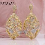 PATAYA New Tricolor Petals Natural Zircon 585 Rose Yellow White Gold Long Stud Earrings Women <b>Wedding</b> Party Noble Luxury <b>Jewelry</b>