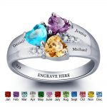 Personalized Birthstone Ring 925 Sterling <b>Silver</b> Heart Stones Engrave Name <b>Jewelry</b> Engagement Gift Mother Rings (RI101793)