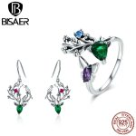 BISAER Genuine 925 Sterling Silver Green CZ Bird Elk Animal Drop Earrings and Ring <b>Jewelry</b> Sets for Women Fashion <b>Jewelry</b> Gift