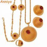 Anniyo High Quality Ethiopian <b>Jewelry</b> sets Necklace/Earring/Ring/Head Chain for Women African Eritrean <b>Wedding</b> Gifts #047811