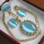 Women's Wedding Wholesale noble 13*18mm plated sky blue opal ring(#6,7,8,9) earrings &pendant fashion <b>jewelry</b>