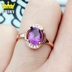 Natural amethyst gem ring Genuine solid 925 sterling <b>silver</b> women gemstone <b>jewelry</b>