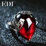 EDI Vintage 100% 925 Sterling <b>Silver</b> Gemstone Garnet Rings For Women <b>Jewelry</b> Accessories Girlfriend Gift