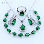 L&B <b>silver</b> 925 <b>Bracelet</b> Jewelry Sets For Women Green created Emerald White crystal Earrings/Pendant/Necklace/Ring