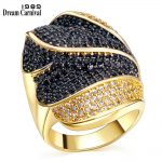 Gorgeous Design Women Rings Deluxe 2 Tones Cubic Zirconia 4 Layers Overlapping Gold Gun Color Bridal <b>Wedding</b> <b>Jewelry</b>