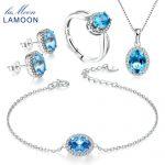 LAMOON 2018 New 925-<b>sterling</b>–<b>silver</b> Oval Natural Blue Topaz 4PCS <b>Jewelry</b> Sets Fine <b>Jewelry</b> for Women Wedding Gift V039-1