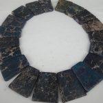 20pcs 30*40mm Dark Blue Imperial Slice Beads, Top Drilled Slab Shape Gems Stone Beaded Accessories <b>Jewelry</b> <b>Making</b>