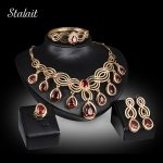 Gold Color <b>Jewelry</b> Sets Nigerian Statement Women <b>Jewelry</b> Set Red Crystal Necklace Earring Bangle Ring Wedding Set