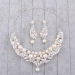 Bridal Necklace And Earrings Set Rhinestone Fake Pearl Neck Ornament Luxury Charm <b>Handmade</b> Wedding <b>Jewelry</b> Set Parting Gifts
