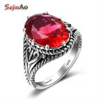 Szjinao Custom Championship Rings Hiphop/Rock Red Ruby Pure <b>Handmade</b> 925 Sterling Silver Luxury Brand Women <b>Jewelry</b> Wholesale