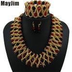 Statement necklace fashion <b>jewelry</b> sets <b>Handmade</b> gold chain african nigerian crystal bead dubai <b>jewelry</b> sets Vintage Bijoux