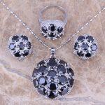 Black Cubic Zirconia 925 Sterling Silver <b>Jewelry</b> Sets Earrings Pendant Ring Size 6 / 7 / 8 / 9 / 10 / 11 / 12 S0025