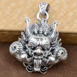 FNJ 925 Silver Dragon Pendant Skull Skeleton 100% Pure S925 Solid Thai Silver Pendants for Women Men <b>Jewelry</b> <b>Making</b>