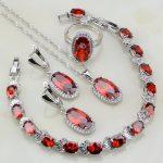 Oval Red Garnet White Cubic Zirconia 925 Sterling <b>Silver</b> Jewelry Sets For Women Wedding Necklace/Earrings/<b>Bracelet</b>/Pendant/Ring
