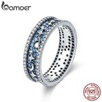 BAMOER Authentic 925 Sterling Silver Sparkling Star Sky Wedding Cocktail Rings for Women Engagement Ring <b>Jewelry</b> SCR347