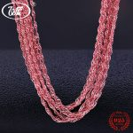 WK Wholesale Lots Bulk 5 10 20 50 100 PCS 925 Sterling <b>Silver</b> Rose Gold Color Water Wave Rope Chain Jewelry Lot 16 18 Inch NA005