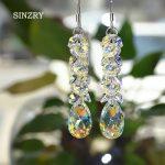 SINZRY <b>jewelry</b> Trendy waterdrop crystal dangle earrings luxury 925 sterling silver crystal <b>handmade</b> long earrings for bridal