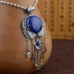 FNJ 925 <b>Silver</b> Wing Pendant New Fashion Lapis Lazuli 100% Pure S925 Solid Thai <b>Silver</b> Pendants for Women Men <b>Jewelry</b> Making