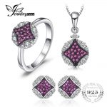 JewelryPalace 0.3ct Round Created Ruby Pave Ring Pendant Necklace Stud Earrings Fine <b>Jewelry</b> Sets 925 <b>Sterling</b> <b>Silver</b> Chain 45cm
