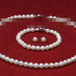 Women's Wedding charm Jew.656 AAA sets 7-8mm white fresh water pearls necklace bracelets earrings Natural silver-<b>jewelry</b>
