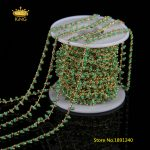 5meters 2mm Tiny Glass Round Beaded Chains,Green Glass Cube Beads Wire Wrapped Gold Copper Charms Rosary Chains <b>Supplies</b> HX091