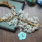 The bride <b>jewelry</b> <b>handmade</b> crystal beaded headdress flower hairpin crown wedding wedding dress accessories Hair Barrette