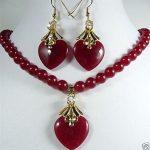 """Prett Lovely Women's Wedding 8mm red necklace 17 """"& heart love earrings pendant set>AAA GP Bridal wide watch win mujer moda"""