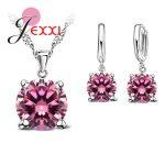 JEXXI 925 Sterling Silver <b>Jewelry</b> Sets 4 Claws Cubic Zirconia CZ Pendant Necklace Earring <b>Fashion</b> <b>Jewelry</b> For Women SET