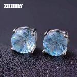 ZHHIRY Natural Blue Topaz <b>Earrings</b> Genuine Solid 925 Sterling <b>Silver</b> Real Gems <b>Earring</b> Women Stone Fine Jewelry