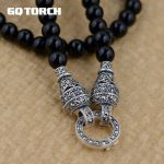 GQTORCH 925 Sterling <b>Silver</b> DIY Long <b>Necklace</b> Black Onyx Beads 6mm Vintage Sweater Chain With Openable Circles For Women And Men