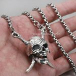Pirate Skull Cross Sword Bone Solid 925 Sterling <b>Silver</b> Mens Biker Pendant 8C006(<b>Necklace</b> 24inch)