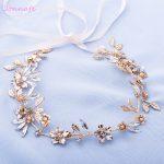 Jonnafe <b>Handmade</b> Gold Leaf Headband Bridal Hair Vine <b>Jewelry</b> Crystal Wedding Hair Crown Accessories Women Forehead band