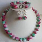 Hot sale@> Stunning 10mm gem stone Beads Necklace <b>Bracelet</b> Earrings Set AAA Bridal wide watch wings queen J