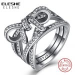 ELESHE Authentic 100% 925 Sterling Silver Big Bow Knot&Infinity Sentiment Finger Ring With Pave CZ Crystal Women Wedding <b>Jewelry</b>
