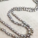 """50"""" 127cm Women <b>Jewelry</b> necklace 6x7mm gray colors baroque flat pearl <b>handmade</b> Real cultured freshwater pearl gift"""