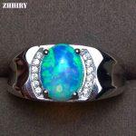ZHHIRY Men Rings Genuine Natural Opal Gemstone 925 <b>Sterling</b> <b>Silver</b> Man Ring Real Precious Fine <b>Jewelry</b>